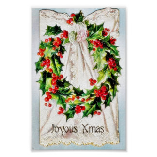 Christmas greeting with garland tied on a cloth print