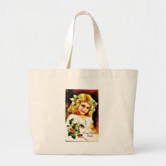 Christmas greeting with girl canvas bag