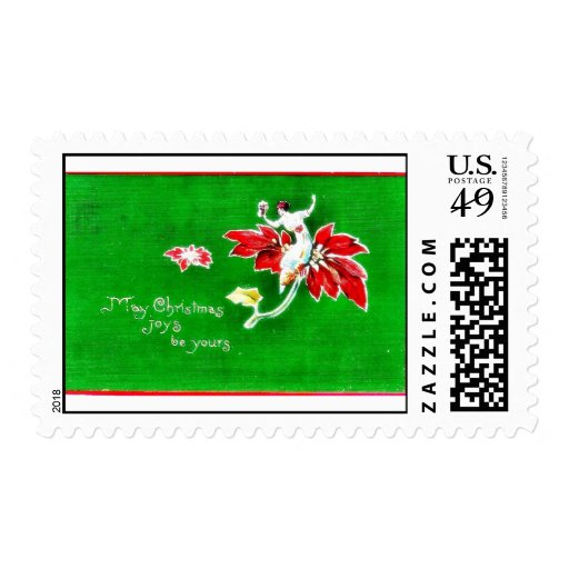 Christmas greeting with girl on a flower postage
