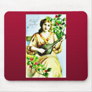 Christmas greeting with girl playing music mouse pad