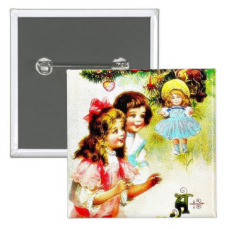 Christmas greeting with girls looking at the chris pinback button
