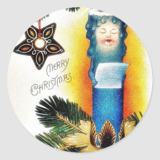 Christmas greeting with handle made like human rea classic round sticker