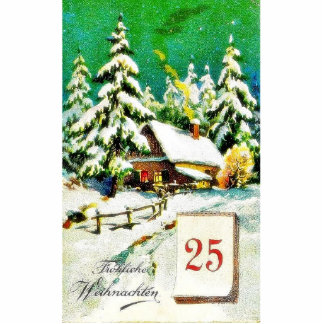 Christmas greeting with house in a snow land showi photo cutout