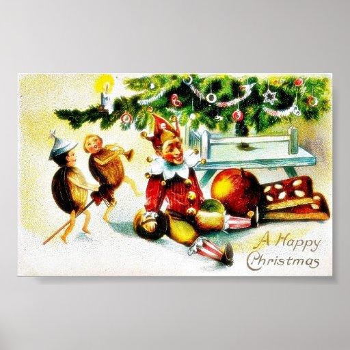 Christmas greeting with jockers doing some magics posters