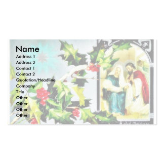 Christmas greeting with Joseph, Mary and infant je Business Card