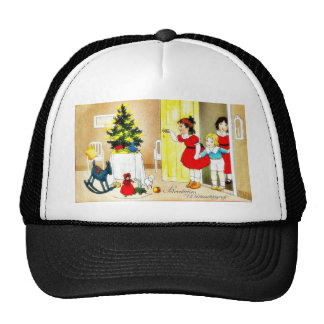 Christmas greeting with kids opening the door and hat
