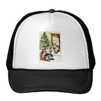 Christmas greeting with kids playing with toys trucker hat