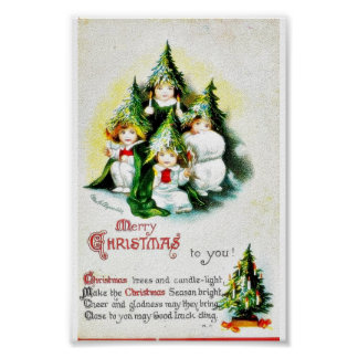 Christmas greeting with kids wearing christmas tre poster