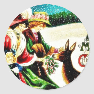Christmas greeting with ladies feeding a deer with classic round sticker