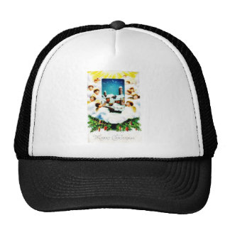 Christmas greeting with many angels around the hou trucker hats