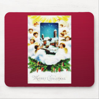 Christmas greeting with many angels around the hou mouse pad