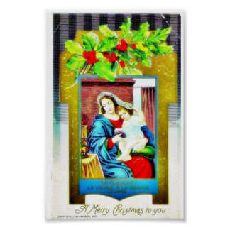Christmas greeting with Mary and infant jesus phot Print