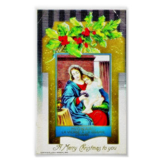Christmas greeting with Mary and infant jesus phot Poster