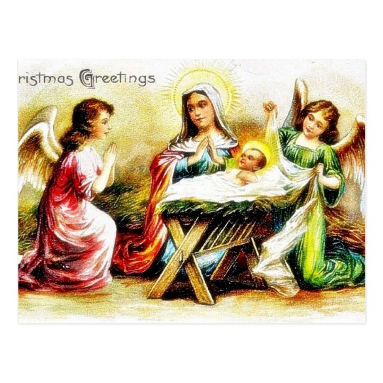 Christmas greeting with Mary , infant jesus with t Postcard