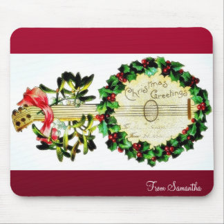 Christmas greeting with musical instrument decorat mouse pad