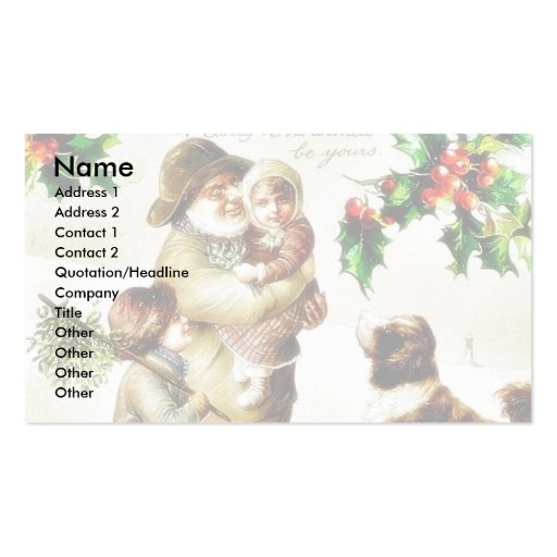 Christmas greeting with old man carrying a child a Double-Sided standard business cards (Pack of 100)
