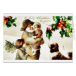 Christmas greeting with old man carrying a child a greeting card