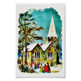 Christmas greeting with people going to church poster