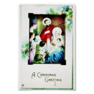 Christmas greeting with photo of jesus, mary, jose posters