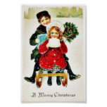 Christmas greeting with playing with gifts posters