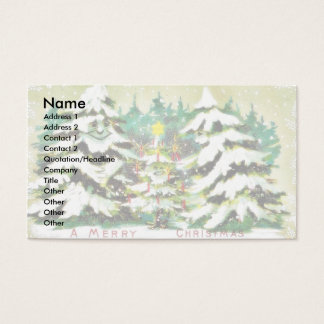 Christmas greeting with riding a snow sled a snow business card