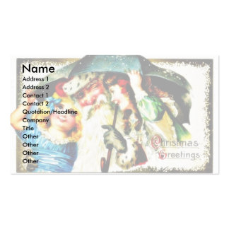 Christmas greeting with santa claus in umbrella wi Double-Sided standard business cards (Pack of 100)