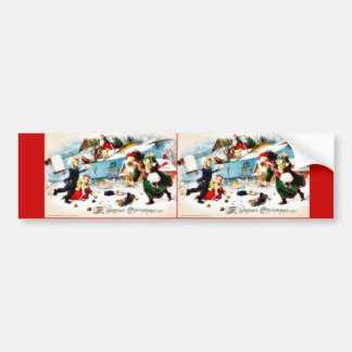 Christmas greeting with santa claus throws gifts a car bumper sticker