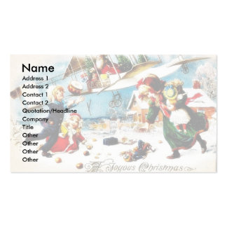Christmas greeting with santa claus throws gifts a Double-Sided standard business cards (Pack of 100)