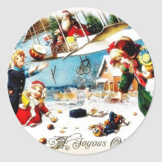 Christmas greeting with santa claus throws gifts a classic round sticker