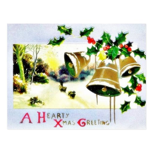 Christmas greeting with scenary and bells postcard