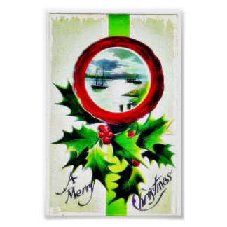 Christmas greeting with scenary in mirror poster