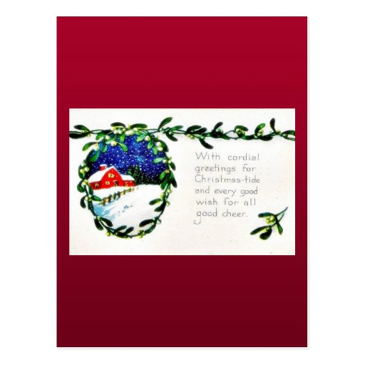 Christmas greeting with scenary postcard