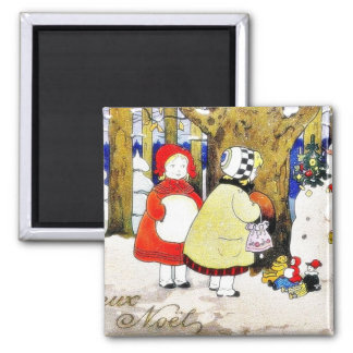 Christmas greeting with snow man presents gifts to fridge magnet