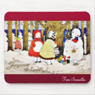Christmas greeting with snow man presents gifts to mouse pad