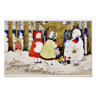 Christmas greeting with snow man presents gifts to poster