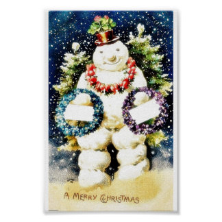 Christmas greeting with snow man wearing garlands poster