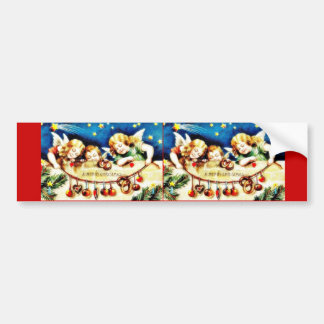 Christmas greeting with three angels holding gifts bumper stickers