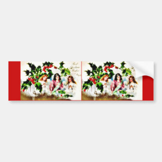 Christmas greeting with three angels praying bumper stickers