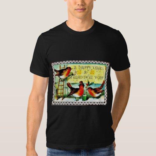 Christmas greeting with three birds, one sitting o t-shirt
