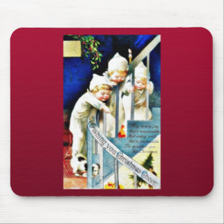 Christmas greeting with three kids looking down fr mouse pad