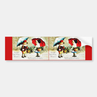 Christmas greeting with tow kids standing with umb bumper sticker