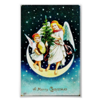 Christmas greeting with two angels carrying christ poster