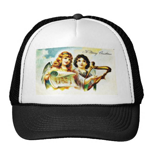 Christmas greeting with two angels playing music hat