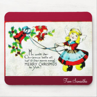 Christmas greeting with two angels playing music mouse pad