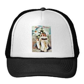 Christmas greeting with two angels reading bible trucker hat
