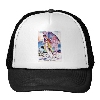 Christmas greeting with two angels reading bible mesh hats