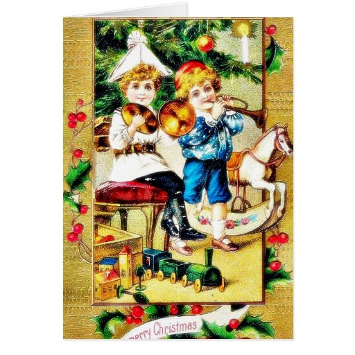 Christmas greeting with two boys playing playing m greeting card