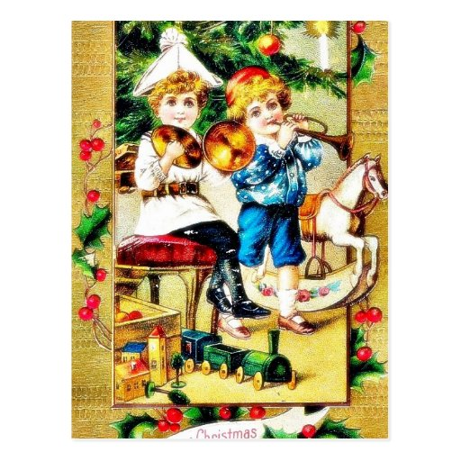 Christmas greeting with two boys playing playing m postcard