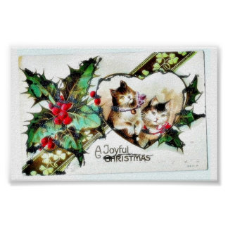 Christmas greeting with two cats and ribbon around print