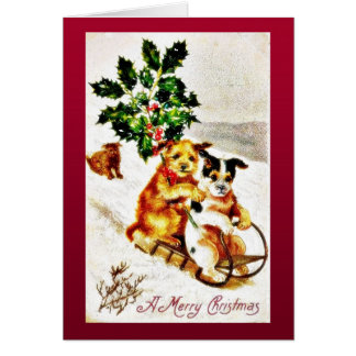 Christmas greeting with two dogs snow slading with card
